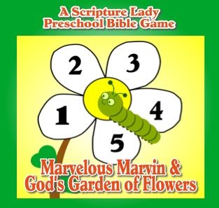 """Marvelous Marvin and God's Garden of Flowers Bible Game"" for Preschoolers"