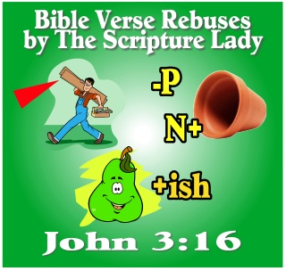 Bible Verse Rebus for John 3:16 by The Scripture Lady