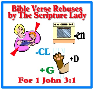 Bible Verse Rebus for 1 John 3:1 by The Scripture Lady