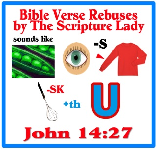 Bible Verse Rebus for John 14:27 by The Scripture Lady